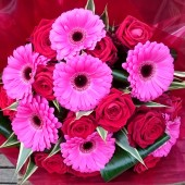 Designer Red Rose & Gerbera Hand-tied