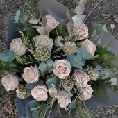 Festive Soft Pink Rose Hand-tied