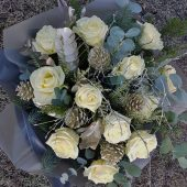 Frosty White Rose Hand-tied