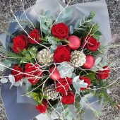 Festive Red Rose Hand-tied