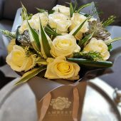 Signature White Rose Hand-tied