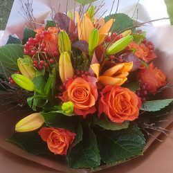 Orange Rose & Lily Hand-tied