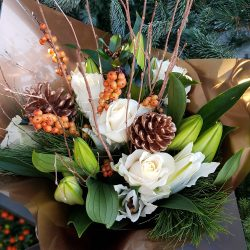 Christmas Rose & Lily Hand-tied