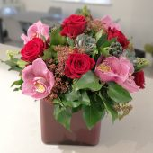 Signature Red Rose & Cymbidium Vase