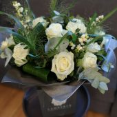 Cool White Rose Hand-tied