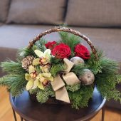 Rich Red Rose & Orchid Basket