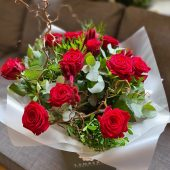Rustic Red Rose Hand-tied