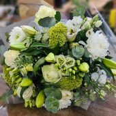 Luxury White & Green Hand-tied